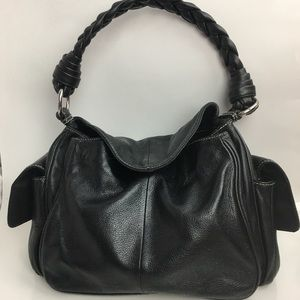 Ralph Lauren Black Leather Hobo Bag Braided Strap